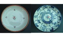 19th Century Famille Rose Dish AND 19th Century Blue and White Dish with damage