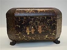 A  mid Qing Dynasty gold color lacquer tea caddy