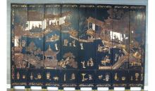 Large Chinese lacquer engraving screen