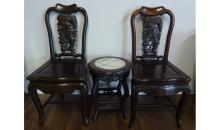 A Pair Rosewood Chair and Tea Table