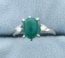 Emerald & Diamond 14k White Gold 3-Stone Ring
