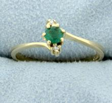 Natural Emerald & Diamond Ring