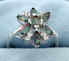 Cluster of genuine Mystic Topaz gemstones set in sterling silver ring