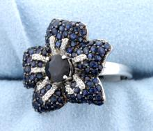Cocktail Sapphire and diamond ring