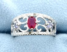Ruby & Diamond Sterling silver ring