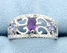 Amethyst & Diamond Sterling silver ring