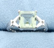 Green Amethyst & Diamond Sterling silver ring