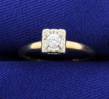 Vintage Keepsake Illusion Head 14k Solitaire Ring