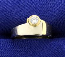 18k White & Yellow Gold Diamond Bezel Set Ring