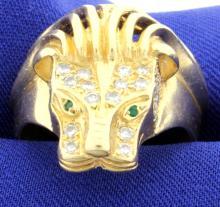 Diamond & Emerald Lion Ring