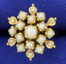 18K Yellow Gold Antique Pearl Ring