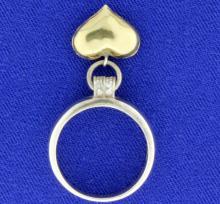 Diamond Heart Ring in 18K Gold & Sterling Silver