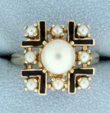 Pearl & Enamel Ring