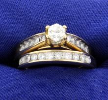 Certified 1.33ct TW Diamond Wedding Ring Set - Band and Engagement Ring