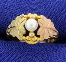 Rose, Black, & Yellow Gold Pearl Ring