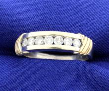 Diamond White Gold Band with 14k Yellow Accents