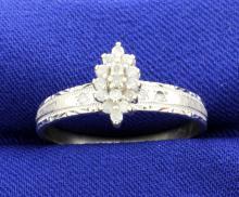 Diamond Cluster 10k Engagement Ring