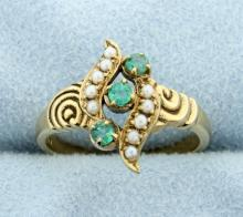 European Seed Pearl & Emeralds Ring