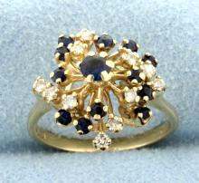 Sapphire & Diamond Spray Design 14k Ring