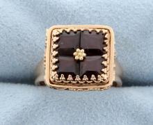 Rose Gold Vintage Style Garnet Ring