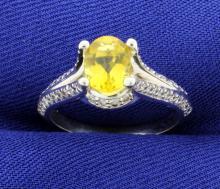 Yellow Sapphire & Diamond 14k White Gold Ring