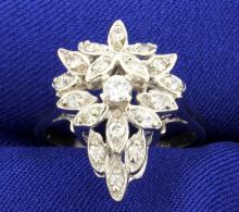 Diamond 14k Vintage White Gold 1/2ct Ring