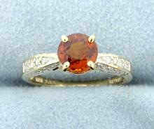 Poppy Color Topaz & Diamond 10k Ring