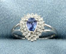 Diamond & Tanzanite 10k White Gold Ring