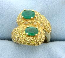 5.5 Carat Emerald & Yellow Sapphire 10K Yellow Gold Bypass Ring
