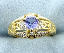 Tanzanite & Diamond Vintage Style 14k Yellow Gold Ring