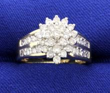 Diamond Cluster Ring with 1 Carat of Brilliant Cut Diamonds