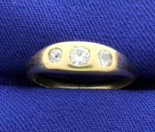 Vintage 3 Diamond 14k Yellow Gold Ring