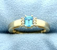 Swiss Blue Topaz & Diamond 14k Ring