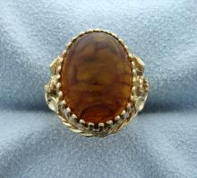 Amber Cabochon Set in 14k Yellow Gold Vintage Setting Ring