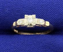Vintage 14k 3 Diamond Ring