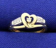 Diamond Heart Tutone 10k Ring