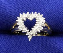 Diamond Open Heart 10k Yellow Gold Ring