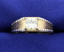 10k Princess Cut CZ Set in 4-Prong Setting in a Tutone Mounting