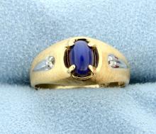 Blue Star Sapphire & Diamond 14k Ring