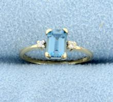 Blue Topaz & Diamond 14k Yellow Gold Ring
