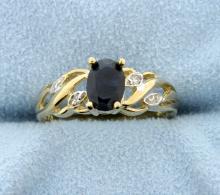 Sapphire & Diamond 10k Yellow Gold Ring