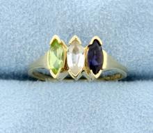 Three Stone Peridot, White Sapphire & Blue Sapphire 10k Ring