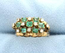 Vintage Emerald & Diamond 14k Yellow Gold Ring