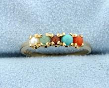 Vintage Multi Color Gemstones 10k Ring