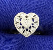 Vintage Diamond Heart Ring in 14k White Gold