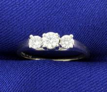 1/2 Carat Platinum and 14k White Gold 3 Diamond Ring