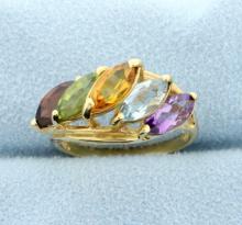 Multicolor 3.75 Carat 14k Yellow Gold Ring