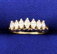 0.53 Carat Marquise Diamond Line 14k Ring