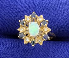 Opal, Diamond & Gem Sapphire 14k Ring