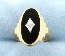Large Vintage Ladies 10k Onyx & Diamond Ring